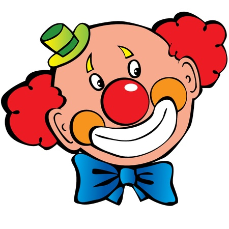 clown nose: Happy clown art-illustration on a white background
