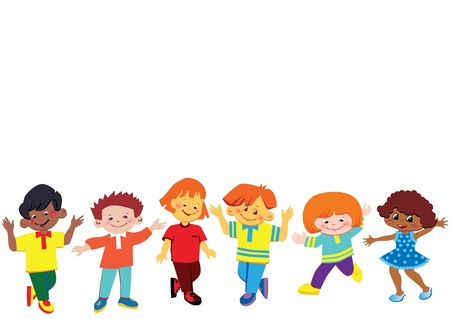 cartoon world: Happy kids  Place for your text  Happy childhood  Vector art-illustration