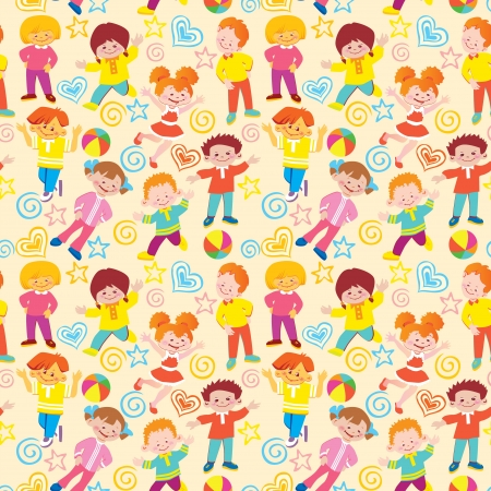family playing: Seamless children pattern  Vector art-illustration on a yellow background