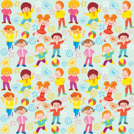 Seamless children pattern  Vector art-illustration  Vector