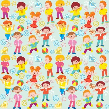 diverse family: Seamless children pattern  Vector art-illustration