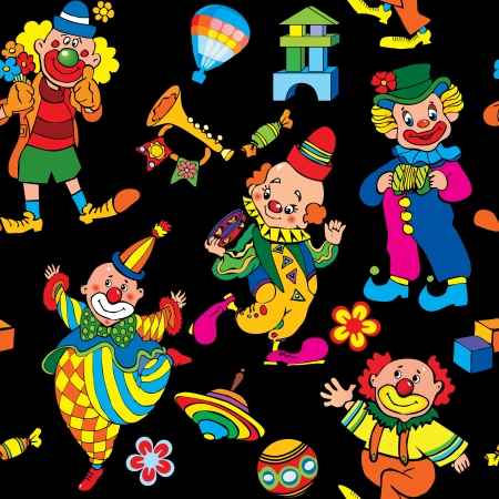 Cartoon circus seamless pattern art-illustration on a black background  Vector
