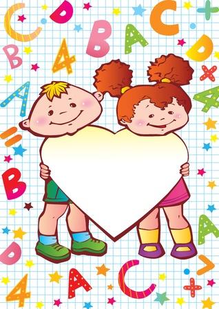 place for children: Ni�os de la escuela infantil con el coraz�n, las letras y los n�meros de lugar para su texto, ilustraci�n de arte