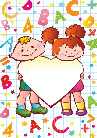 preschool teacher: School childhood  Children with heart, letters and numbers  Place for your text art-illustration