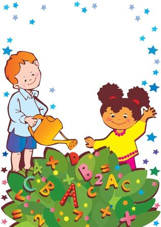maestra preescolar: School Place infancia para el texto art-ilustración