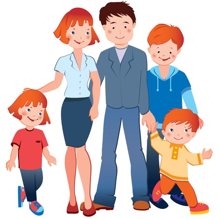 parenthood: Happy family  Vector art-illustration on a white background