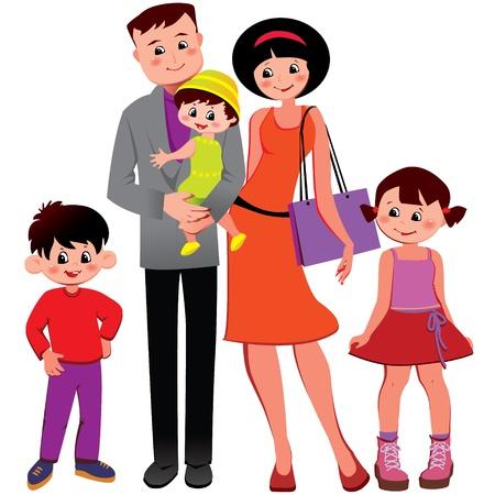 hijos: Vector Happy family art-ilustración sobre un fondo blanco Vectores