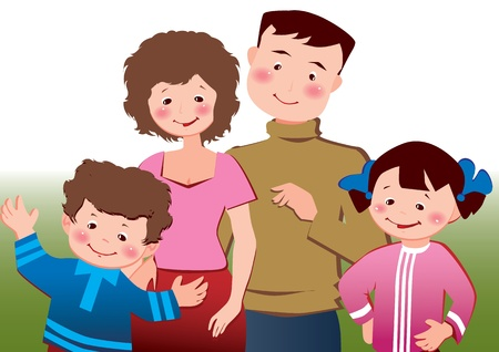 Happy family Vector art-illustration on a white background