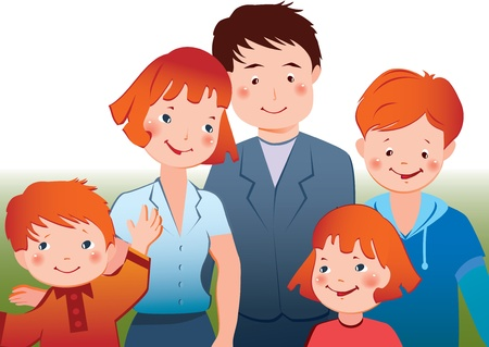 convivencia familiar: Vector Happy family art-ilustraci�n sobre un fondo blanco Vectores