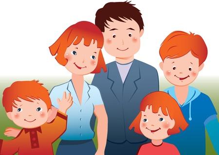familias unidas: Vector Happy family art-ilustración sobre un fondo blanco Vectores