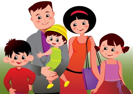 parenting: Happy family  Vector art-illustration on a white background