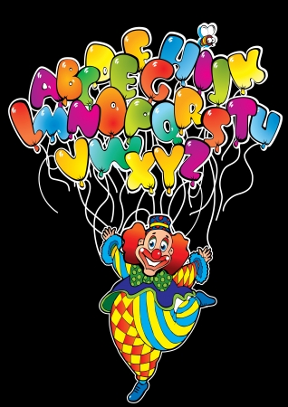 Funny clown with balloons in the form of the alphabet  Vector art-illustration  Vector