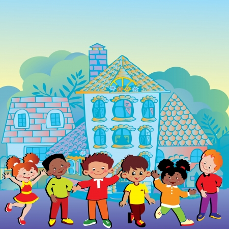 home school: Happy children playing in the beautiful city   Illustration