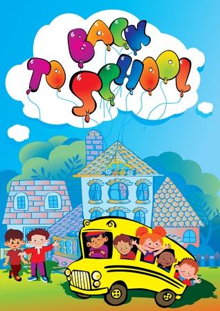 Back to school  Children go to school to learn  Vector art-illustration Stock Vector - 15291092