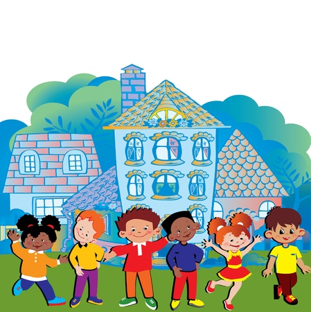 fraternidad: Los niños felices jugando en la hermosa ciudad