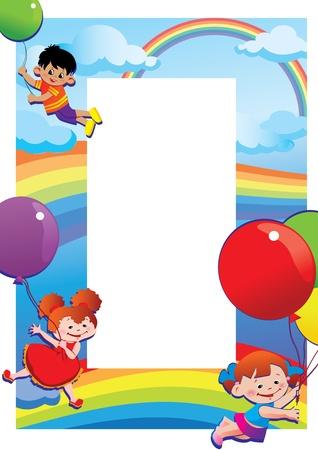 place for children: Los ni�os vuelan en globos Lugar para su texto Vector infancia feliz art-ilustraci�n