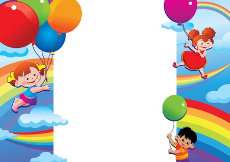 gladness: Children flying on balloons  Place for your text  Happy childhood  Vector art-illustration