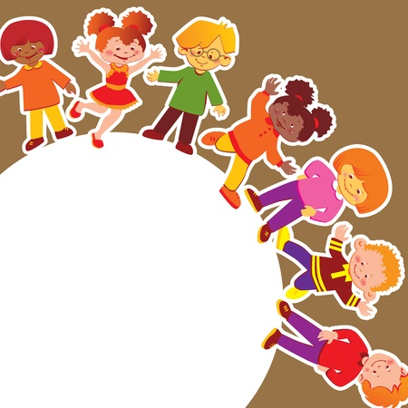 glad: Happy kids of different nationalities play together  Vector art-illustration   Illustration