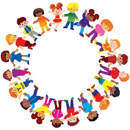 Des enfants heureux de nationalités différentes peuvent jouer ensemble Vecteur art-illustration sur un fond blanc