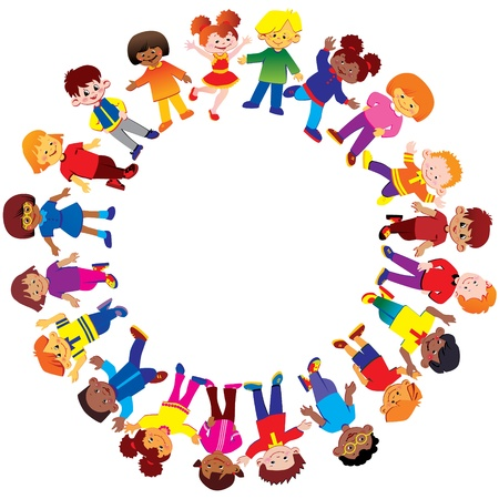 multicultural group: Happy kids of different nationalities play together  Vector art-illustration on a white background
