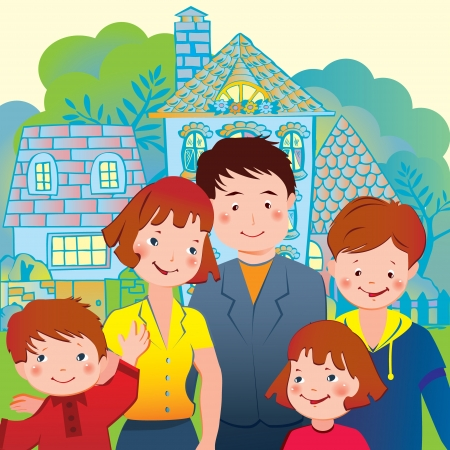 mom and son: Happy family on the background of the house  Vector art-illustration  Illustration