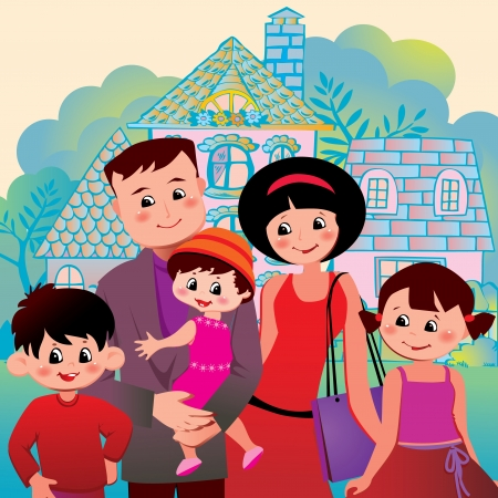 happy family at home: Happy family on the background of the house  Vector art-illustration  Illustration