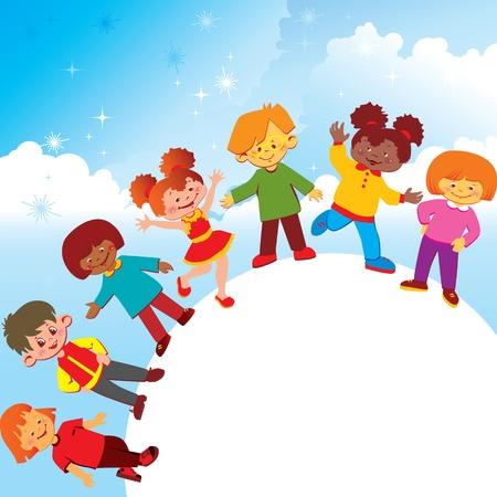 fraternidad: Felices los niños de distintas nacionalidades jugar juntos alrededor del mundo del arte Vector-ilustración Vectores