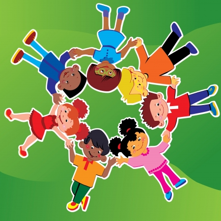 Happy kids of different nationalities play together on the grass  Ilustrace