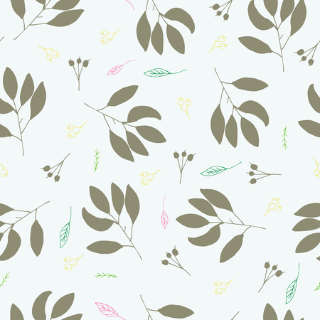 Whimsical leaves and twigs shapes handcrafted in greens seamless vector illustration pattern for baby/children fabric, clothes/accessories, background, textile, wrapping paper and other decoration.