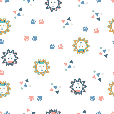 Lion faces, paws, triangles and circles safari seamless pattern. Small doodle hand drawn lions and vector shapes on white background. Seamless vector illustration pattern for baby/children fabric, clothes/accessories, background, textile, wrapping paper and other decoration. Vectores