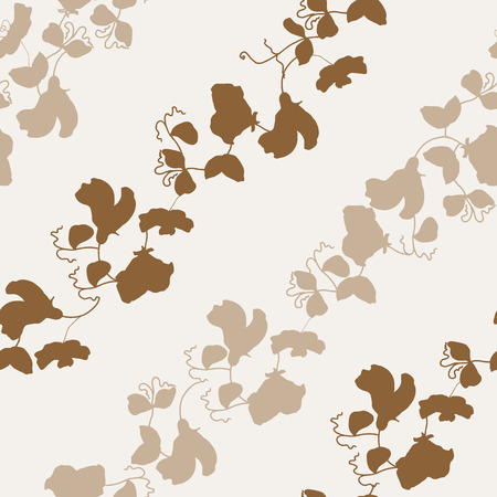 Garden flora sweet pea blossom and leaves seamless pattern vector.