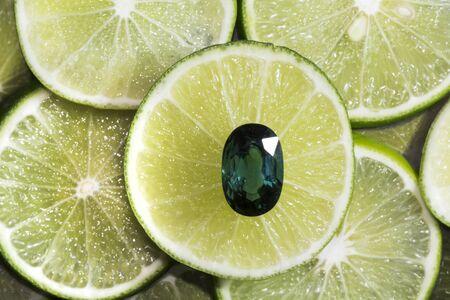 green tourmaline: Green tourmaline on lime