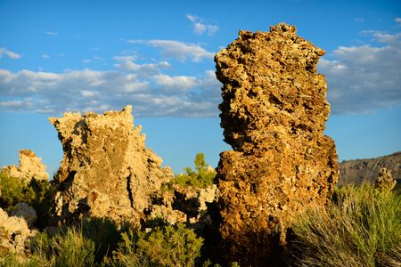 lee vining: Mono Lake tufas in late afternoon shot in landscape orientation Stock Photo