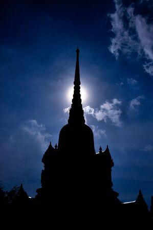 Silhouette of pagoda , Thailand  photo