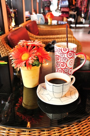 hot and cold coffee in coffee shop  Stock Photo