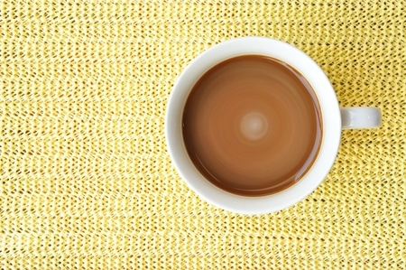 a cup of coffee in top view Stock Photo