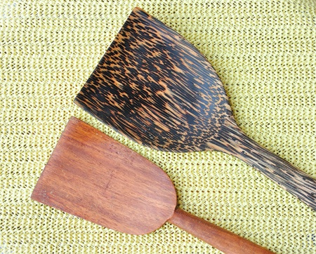 two wooden spatula for kitchen photo