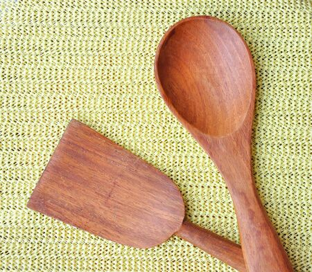 wooden ladle and spatula for kitchen
