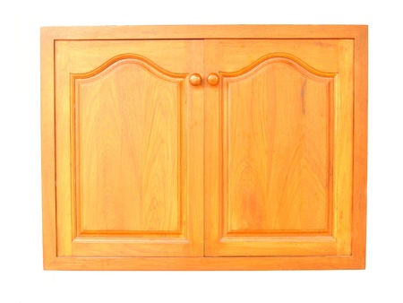 wooden cabinet doors isolated on white background photo