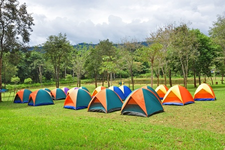 Rows of colorful tent, forest campsite  Stock Photo
