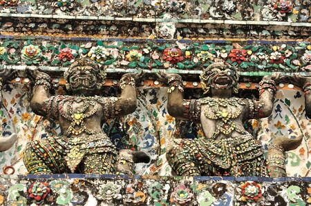 ancient demon statue in Wat Arun around pagoda, Bangkok, Thailand Stock Photo - 13011261