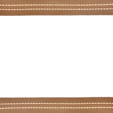 Woven brown leather belt isolated on white background photo