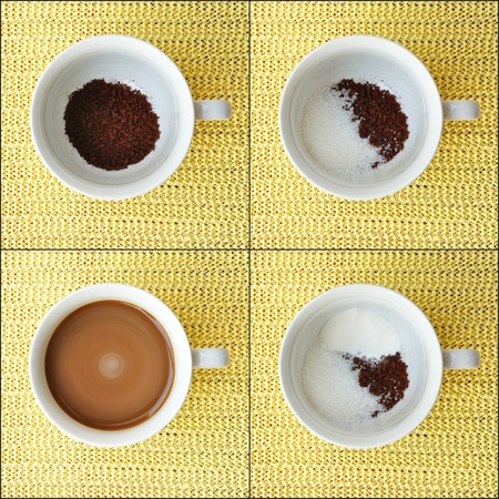 4 Step for fresh hot coffee photo