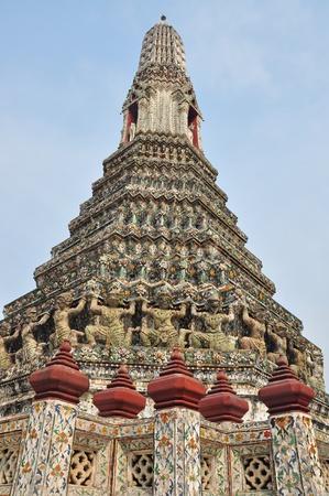 wat arun:  Ancient pagoda in Wat Arun, Bangkok, Thailand