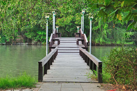 Wooden bridge of Silpakorn university, Nakhon Pathom, Thailand photo