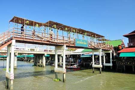 SAMUTSONGKHRAM - APRIL 14  People walk across the bridge at Bang Noii floating market on APRIL 14, 2012, SAMUTSONGKHRAM, THAILAND