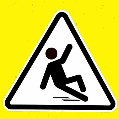 slippery floor: Slippery wet floor sign Stock Photo