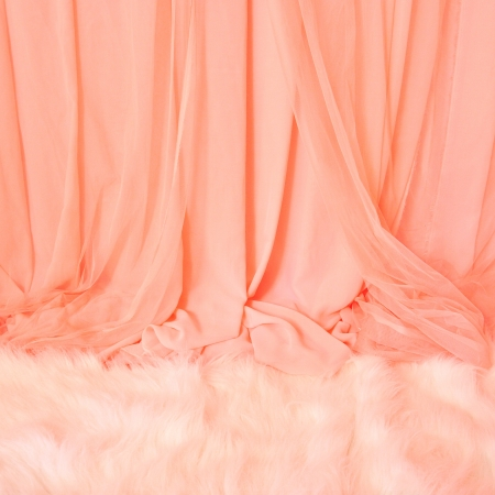Pink Curtain and white fur carpet, Background for wedding photo