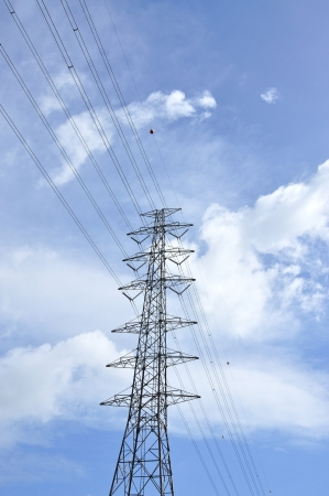 High voltage post, electric power transmission tower photo
