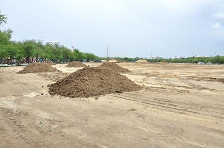 Vorbereitung Landschaft für den Bau am Sanam Luang, Während Bodenaushub, Bangkok, Thailand Standard-Bild